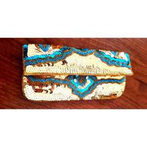 Gold and Turquoise sequin clutch with pockets